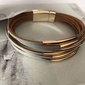 Infrared Studio Jewelry - Gray leather + gold metal multilayered bracelet